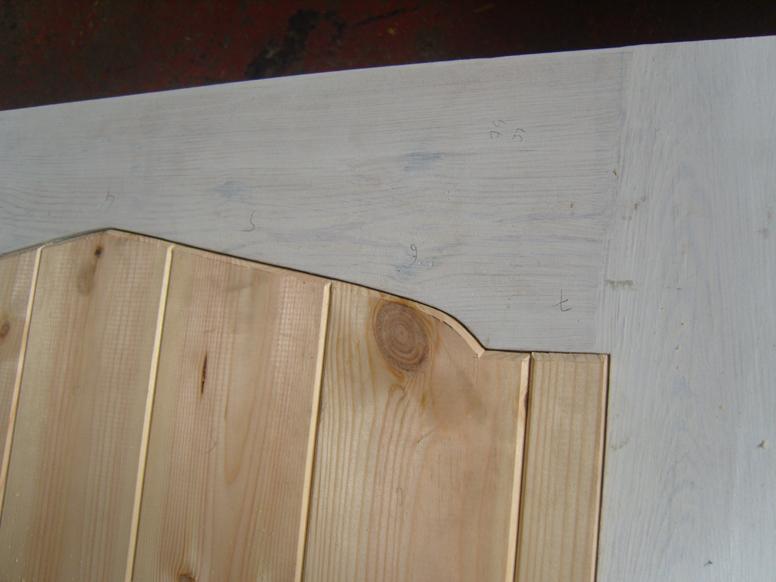 Detail of T&G panelling in a door