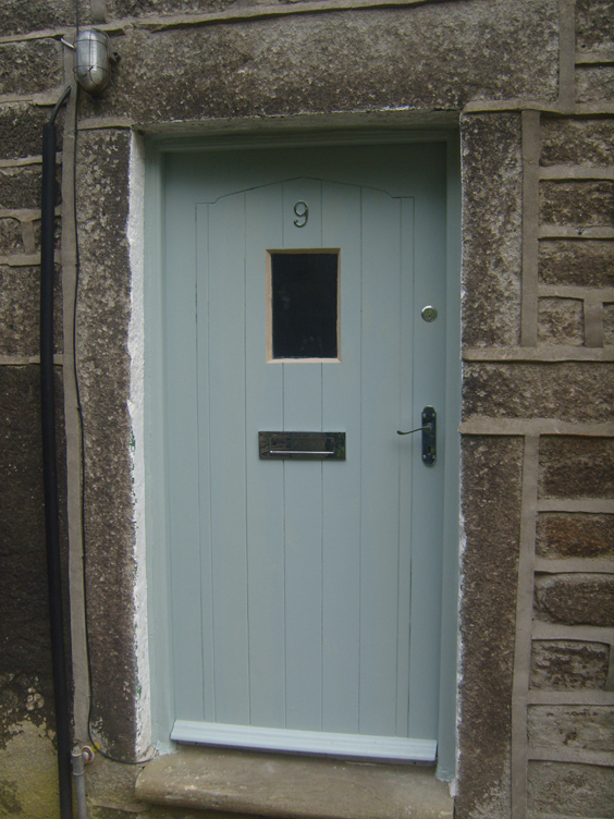 Picture of a light blue traditional door