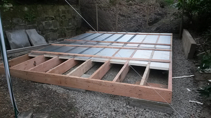 Floor grill for the studio with insulation installed